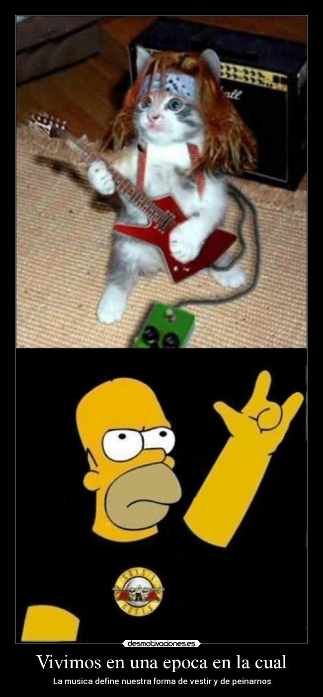 carteles rock gato homer guns and roses vestir peinado desmotivaciones