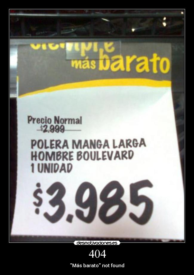 404 - Más barato not found