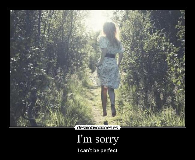Im sorry - I cant be perfect