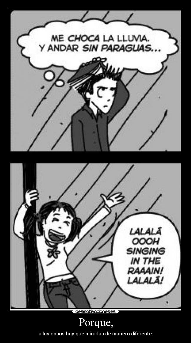 carteles singing the rain lalalalalala desmotivaciones