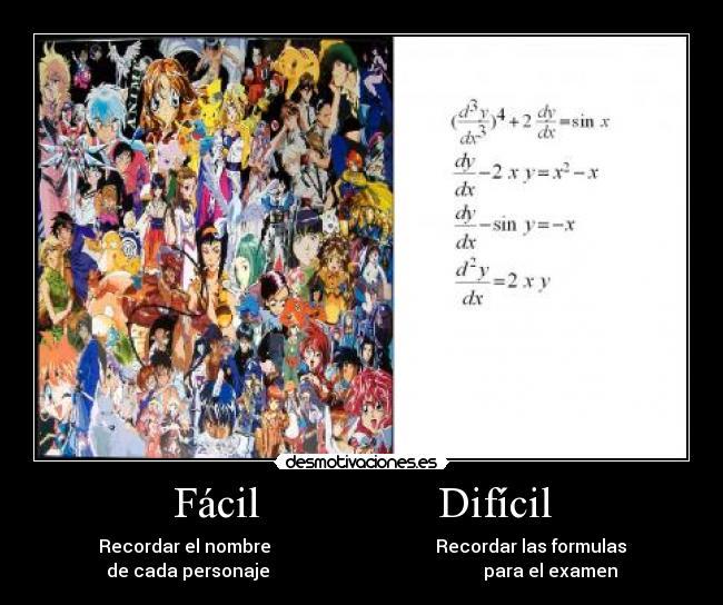 carteles anime personajes formulas matematicas facil dificil desmotivaciones