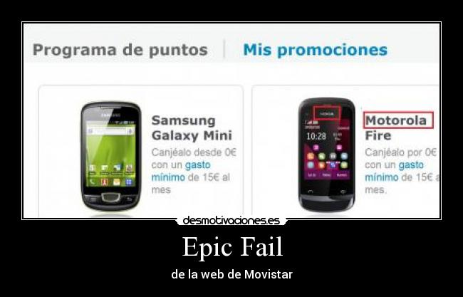 Epic Fail - de la web de Movistar