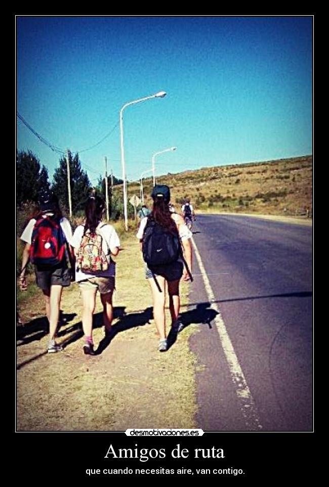 amigos en ruta