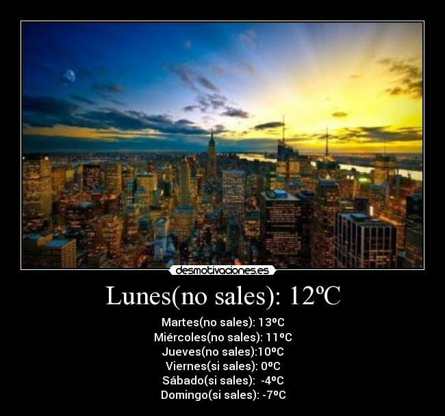 Lunes(no sales): 12ºC - Martes(no sales): 13ºC Miércoles(no sales): 11ºC Jueves(no sales):10ºC Viernes(si sales): 0ºC Sábado(si sales):  -4ºC Domingo(si sales): -7ºC