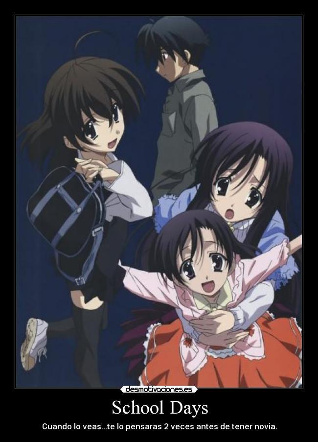 Carteles y desmotivaciones de schooldays sekai makoto novia konoha