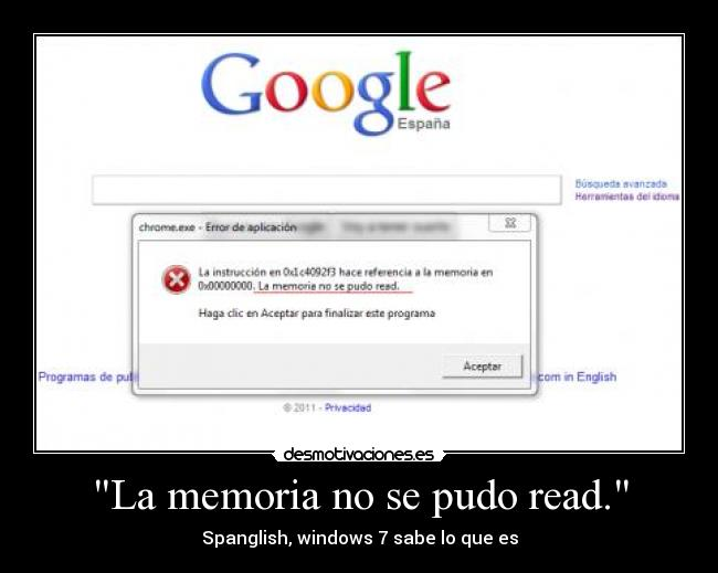 La memoria no se pudo read. - Spanglish, windows 7 sabe lo que es