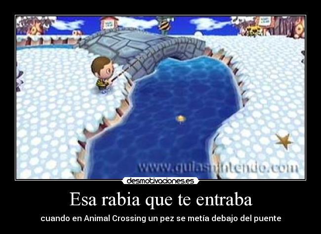 Esa rabia que te entraba - cuando en Animal Crossing un pez se metía debajo del puente