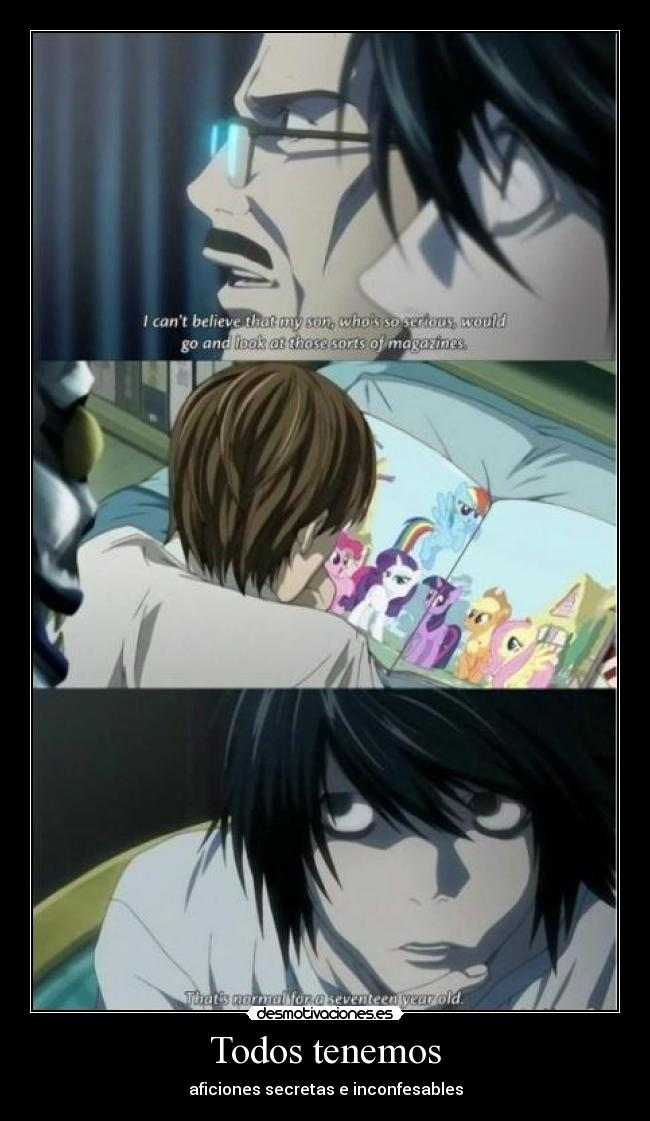 carteles encontre imagen know your meme little pony death note light kira ryuk desmotivaciones