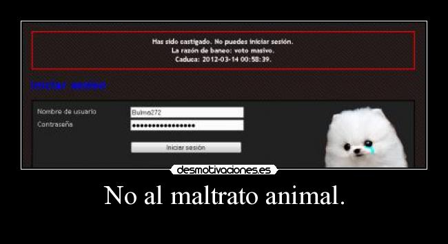 No al maltrato animal. -