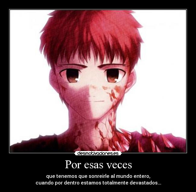 carteles anime fate stay night emiya shirou sad desmotivaciones