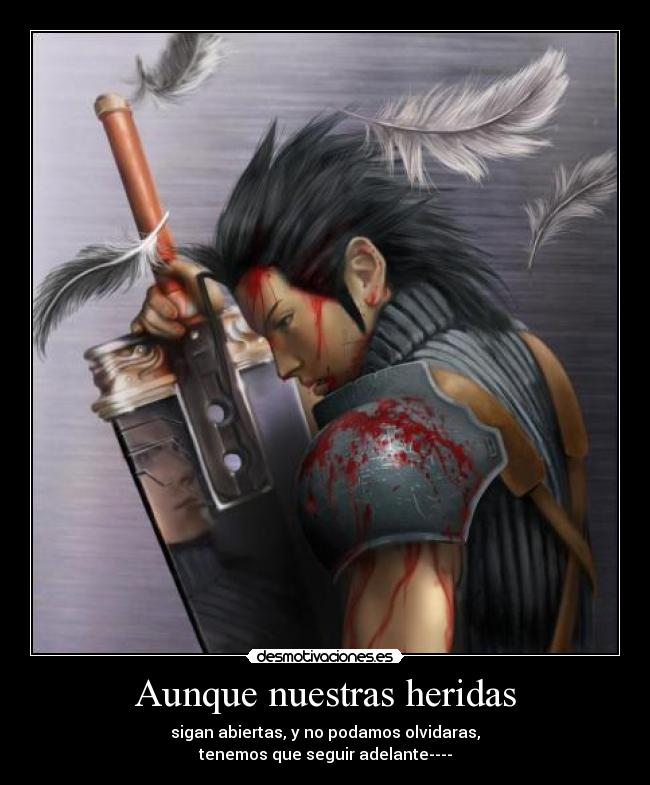 carteles anime final fantasy vii crisis core zack fair sad desmotivaciones