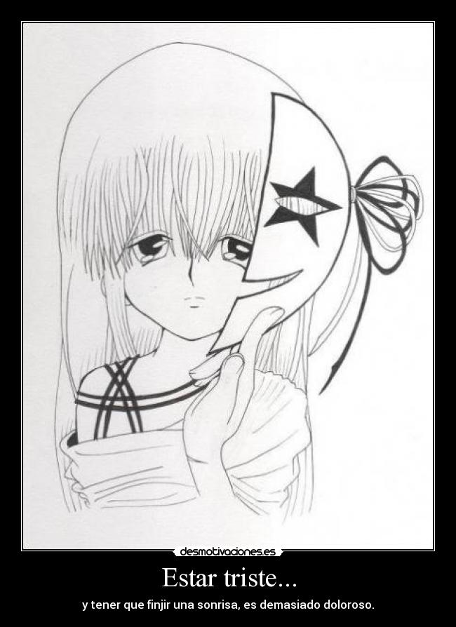 Carteles Tristeza Anime Dibujo Sonrisa Dolor Desmotivaciones