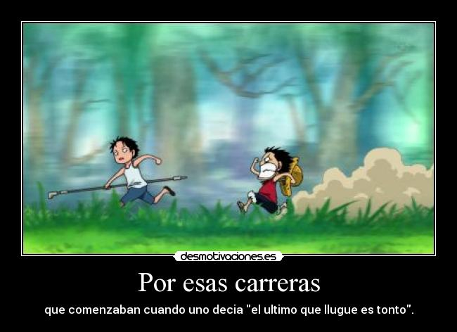 carteles one piece carreras luffy ace desmotivaciones