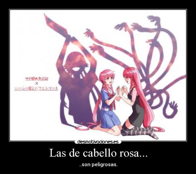 carteles anime elfen lied lucy nyu mirai nikki gasai yuno cabello rosa bipolar yandere desmotivaciones