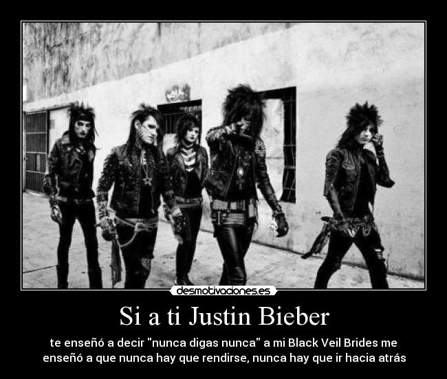 carteles black veil brides never give never back down andy sixx ashley purdy chris coma jake pitts jinxx desmotivaciones