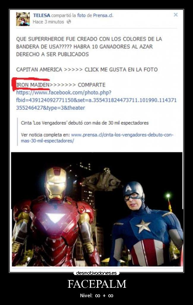 FACEPALM - Nivel:  ∞  +  ∞