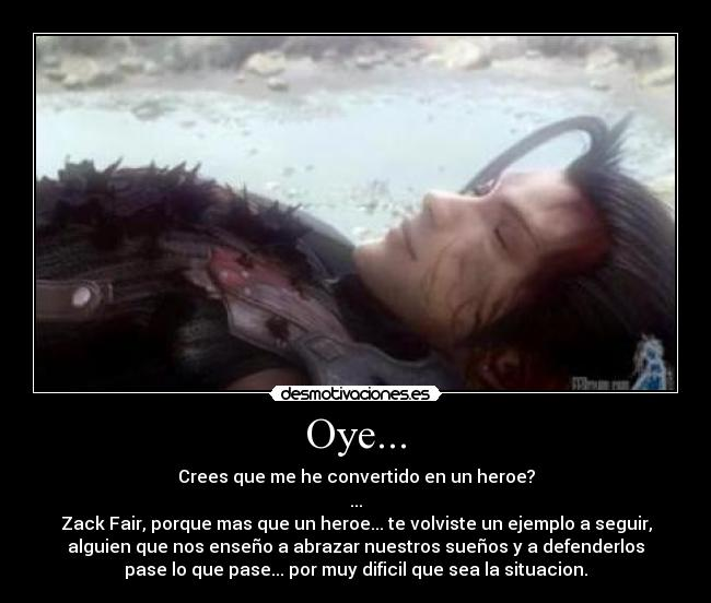 carteles zack fair final fantasy crisis core anime videojuegos rpg cloud strife aeris aerith square enix desmotivaciones