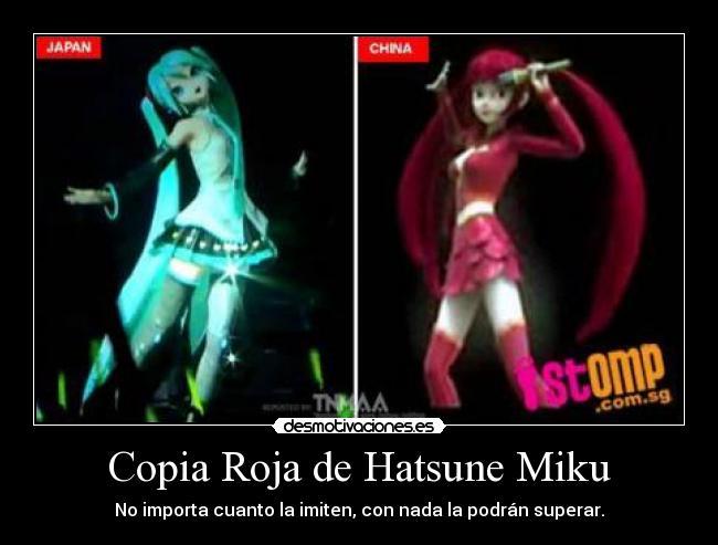 Carteles Miku Hatsune Roja Imitacion Plagio Copia Vocaloid Anime
