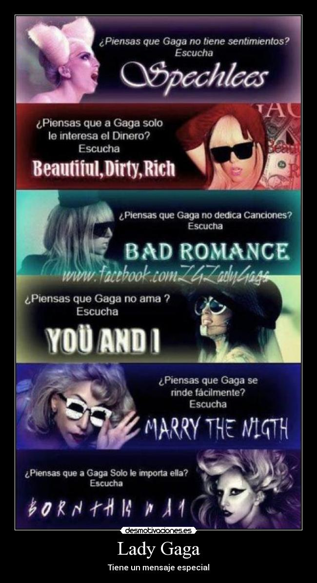 carteles lady gaga spechlees beautiful dirty rich bad romance you and marry the night born this way desmotivaciones