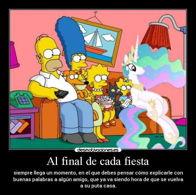 carteles fiesta the simpsons little pony friendship magic princess celestia desmotivaciones