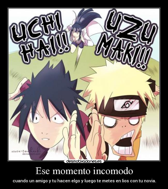 Carteles Anime Narutoshippuden Parodia Naruto Sasuke Hinata Problema Desmotivaciones