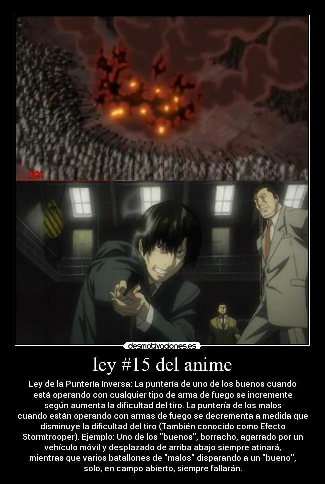 carteles anime ley del anime shinigamisempai hellsing ultimate todos contra alucard death note matsuda desmotivaciones