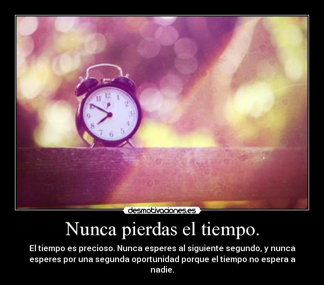 Nunca pierdas el tiempo. - El tiempo es precioso. Nunca esperes al siguiente segundo, y nunca