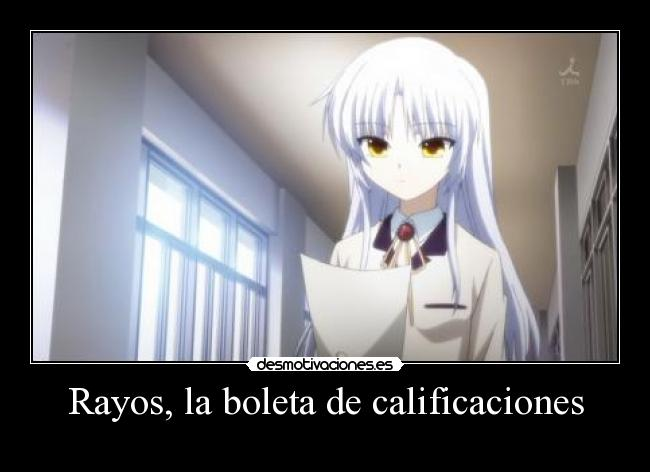 carteles anime angel beats kanade desmotivaciones