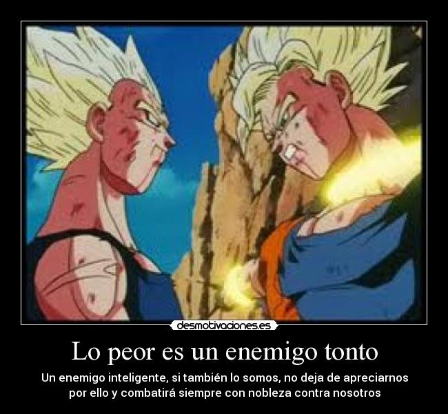 carteles enemigo tonto peor enemigo tonto sin honor enemigo inteligente honorable dragon ball desmotivaciones