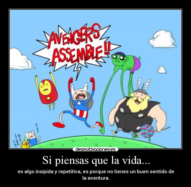 carteles vida clanfortress parodia the avengers version adventure time lol thor esta gordo desmotivaciones