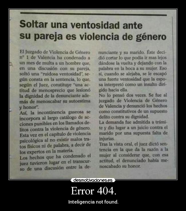 Error 404. - Inteligencia not found.