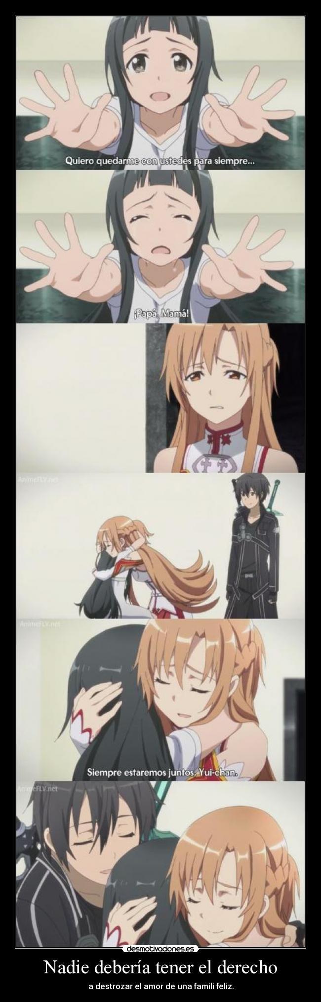 carteles raptorhunters nigatsu harukaze anime sword art online sao kirito asuna yui son una familia amor desmotivaciones
