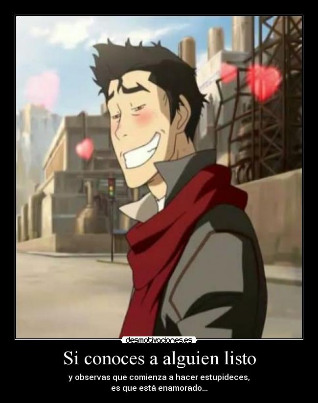 carteles half anime avatar legend korra mako fall love desmotivaciones