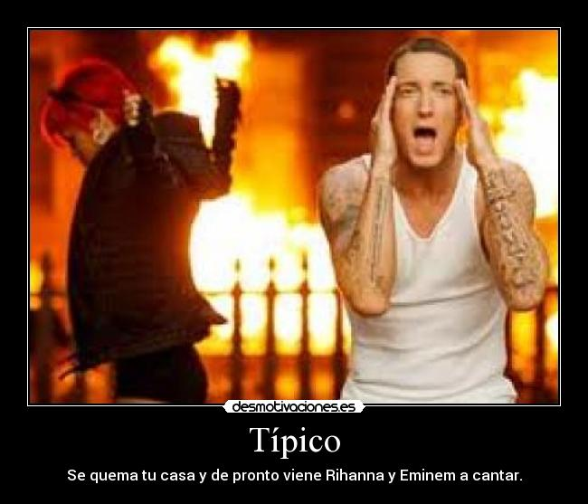 Eminem quema casa gracioso risa divertido fuego wtf desmotivaciones