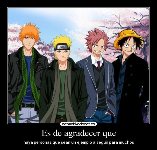 carteles ichigo naruto natsu luffy one piece bleach fairy tail cross over anime otaku desmotivaciones