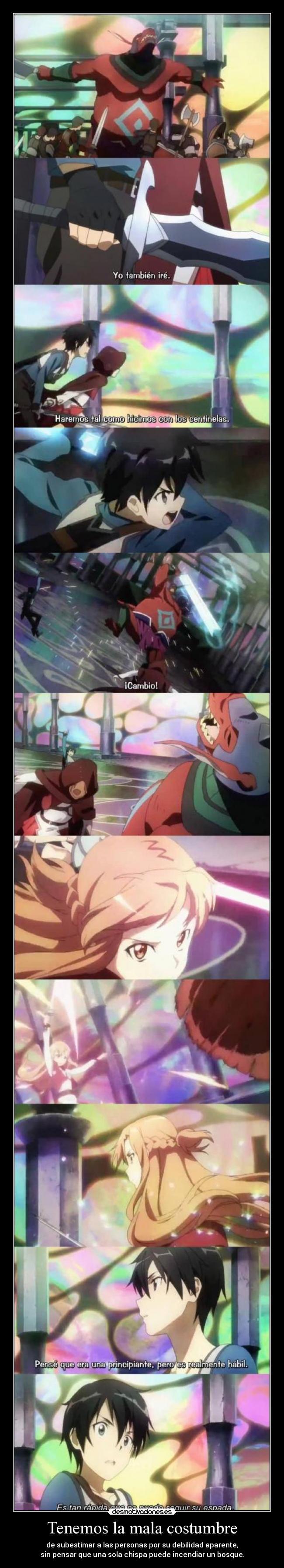 carteles asunayuuki comparacion interesante sworldartonline sao kirito asuna anime waltk desmotivaciones