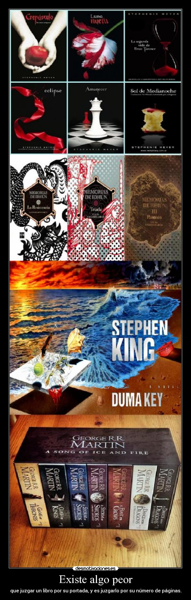 carteles eric wiseman crepusculo memorias idhun stephen king cancion hielo fuego libros portada paginas desmotivaciones