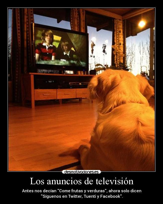 Los anuncios de televisión - Antes nos decían Come frutas y verduras, ahora solo dicen Síguenos en Twitter, Tuenti y Facebook.