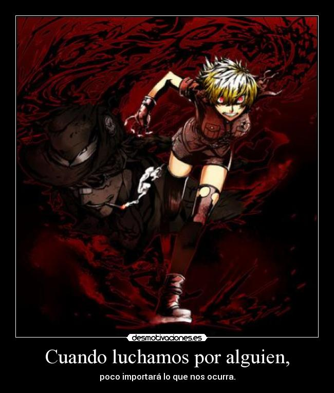 carteles gaararafez harukaze anime manga hellsing alucard seras victoria poquito sangre brazo desmotivaciones