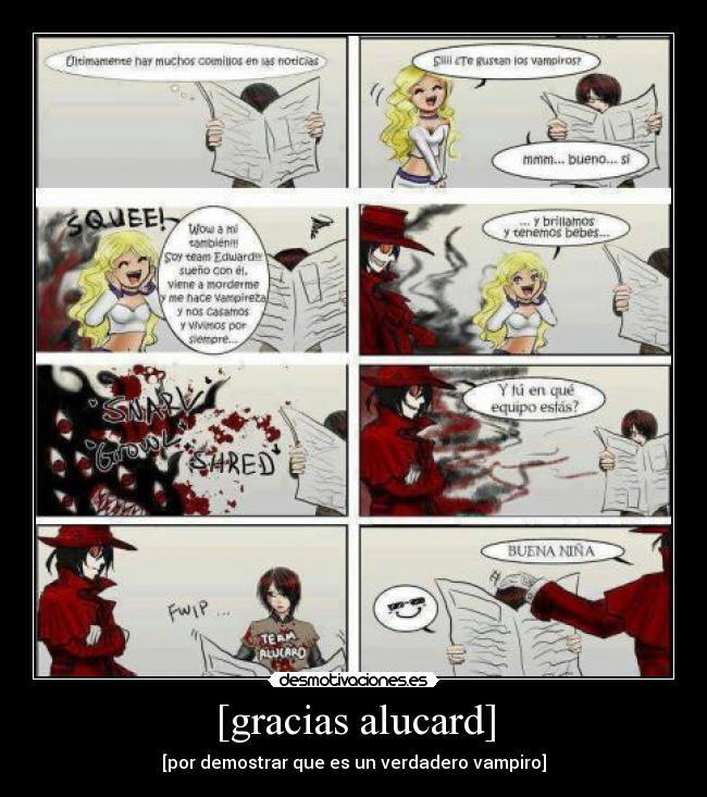 carteles vampiros alucard anime hellsing desmotivaciones