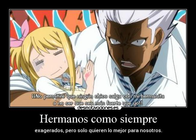 carteles anime fairytail fairy tail hermanos lucy elfman desmotivaciones