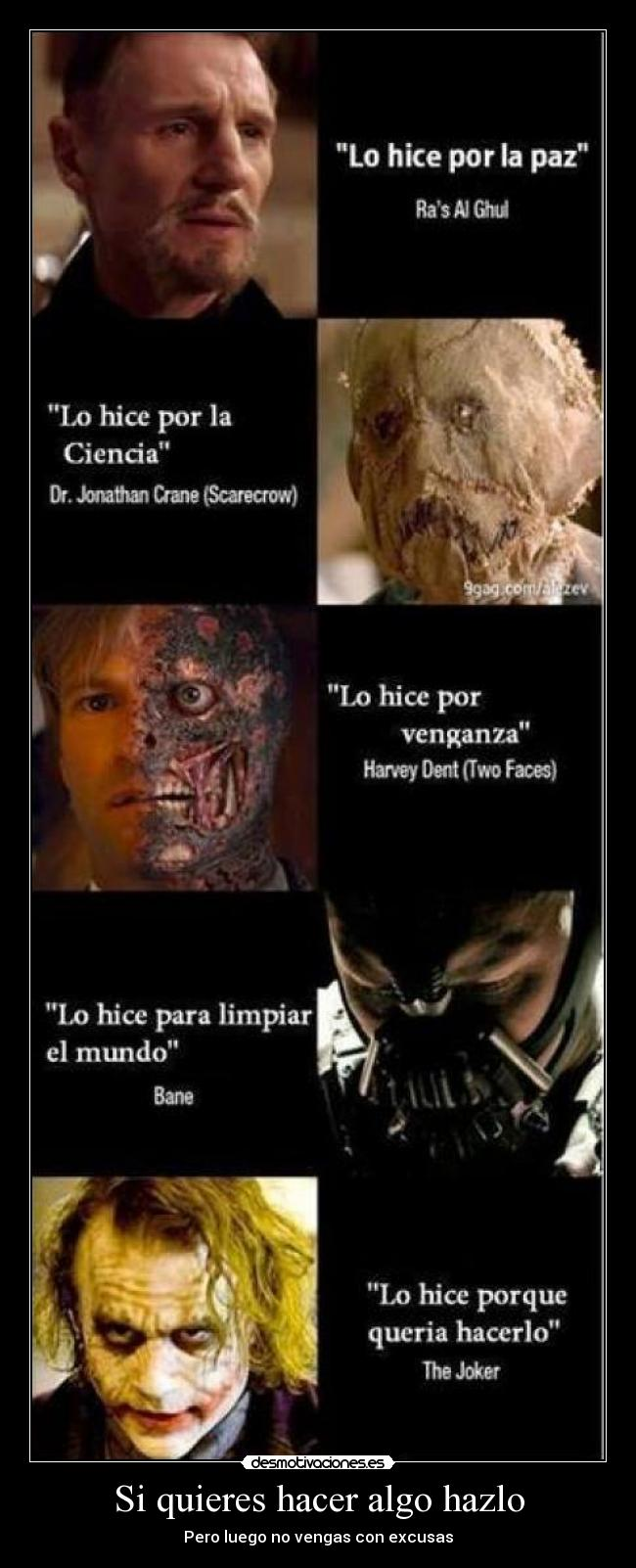 carteles batman joker bane two faces scarecrow ras ghul desmotivaciones