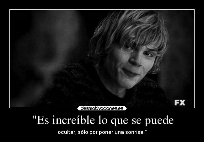 carteles tumblr black and white american horror story tate langdon cry smile pain hurt cut nyanperona desmotivaciones