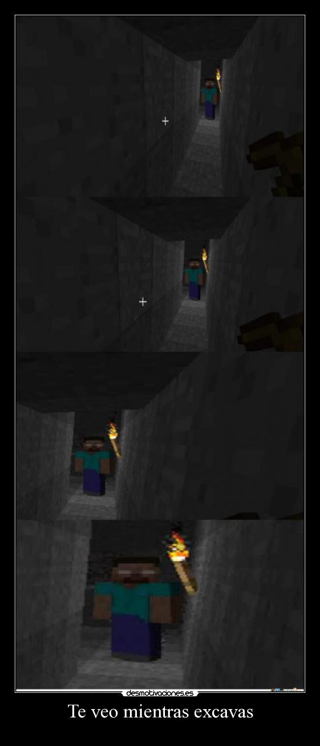 carteles albano98 veo mientras excavas videojuego minecraft creepypasta herobrine devilbrigade desmotivaciones