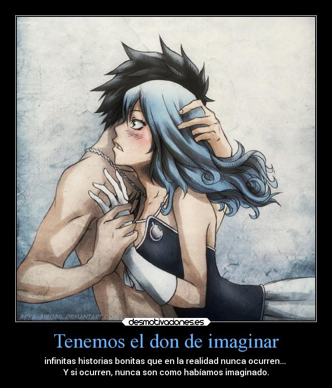 carteles anime fairy tail juvia and gray imaginacion historias desmotivaciones