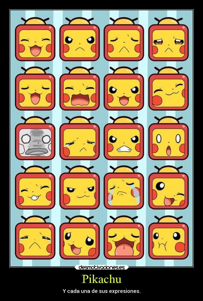 carteles pokemon anime otaku devilbrigade pikachu sus diferentes expresiones caras kawaii cute desmotivaciones