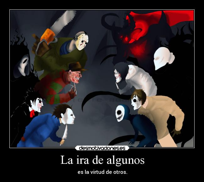 carteles anime jeff slenderman jack zalgo michael jigsaw scream freddy krueger jason creepypasta horror desmotivaciones