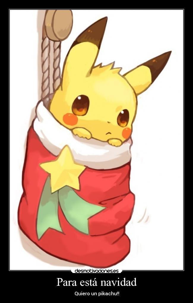 carteles navidad navidad anime pikachu regalo kawaii desmotivaciones