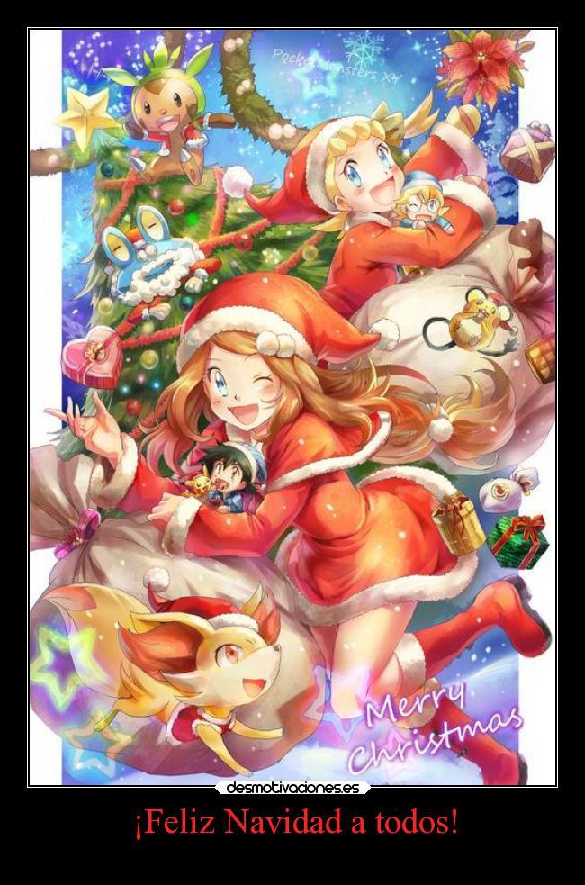 carteles navidad navidad anime pokemon otaku feliz fennekin serena pikachu froakie ashketchum chespin