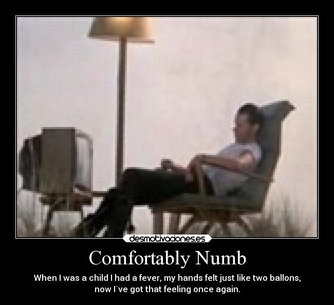 Comfortably Numb - When I was a child I had a fever, my hands felt just like two ballons, now I`ve got that feeling once again.